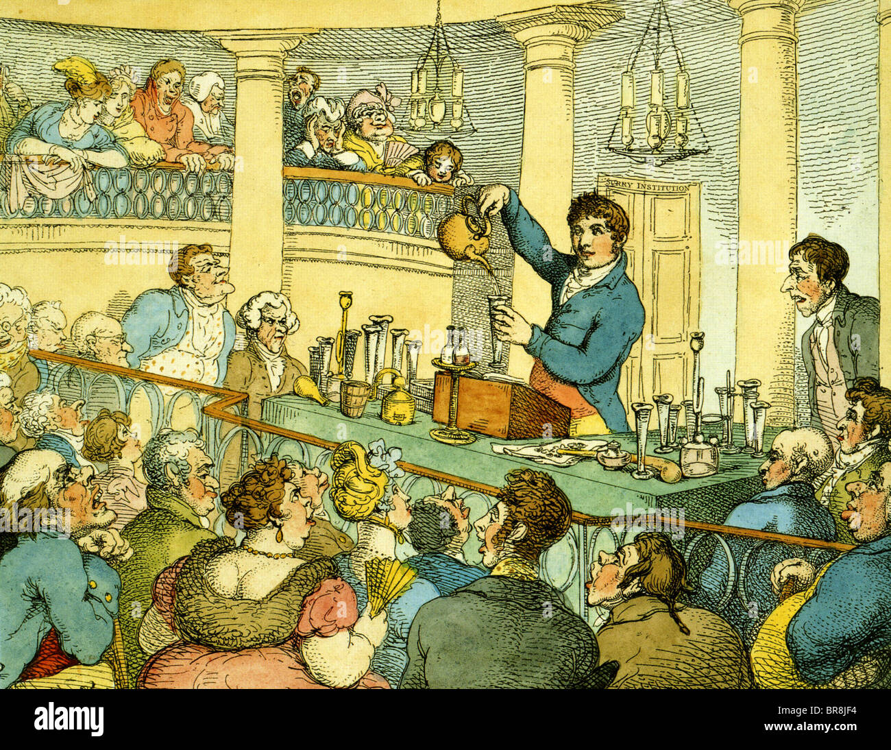 HUMPHREY DAVEY 91778-1829)  UK scientist giving one of his very popular and dramatic lectures at the Royal Institution - Stock Image