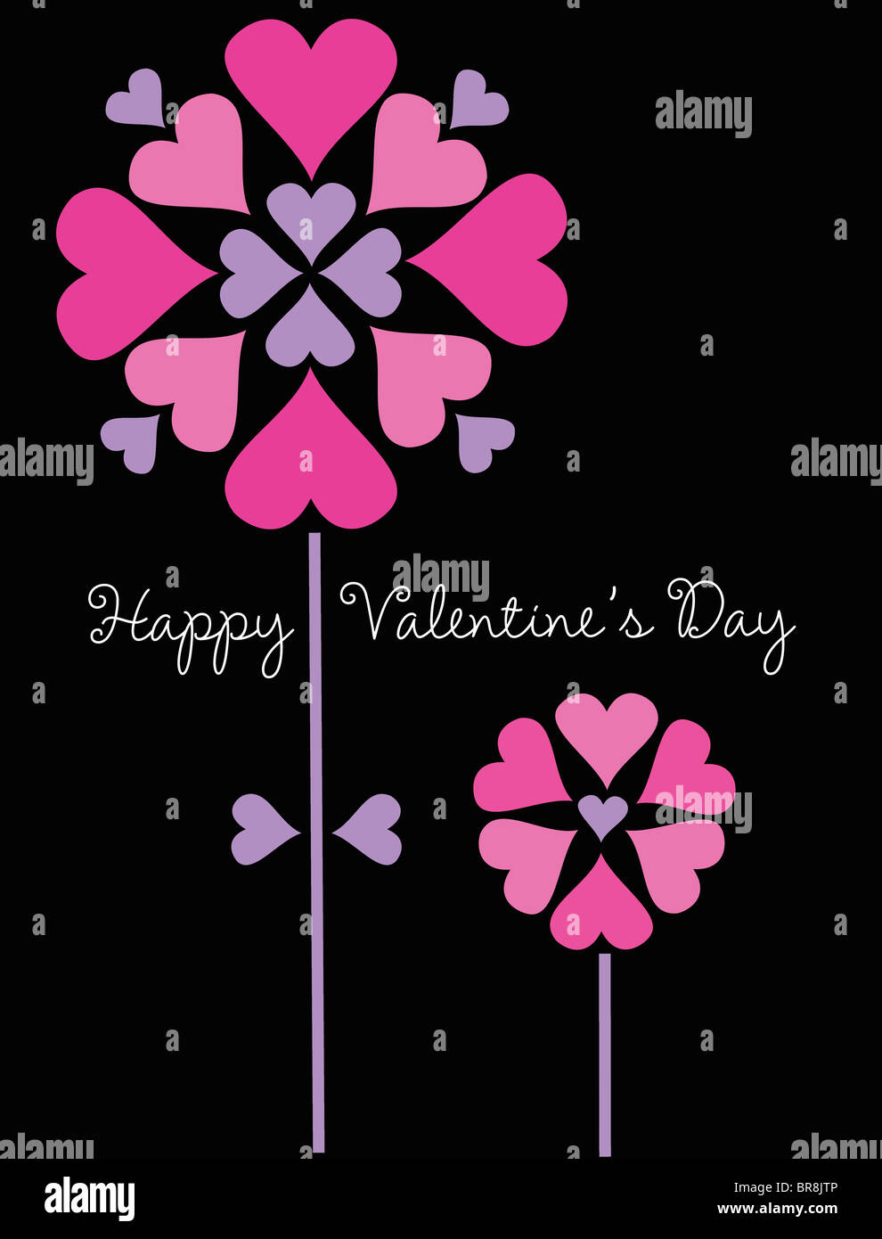Two Flowers Made Of Pink And Purple Hearts On A Black Background