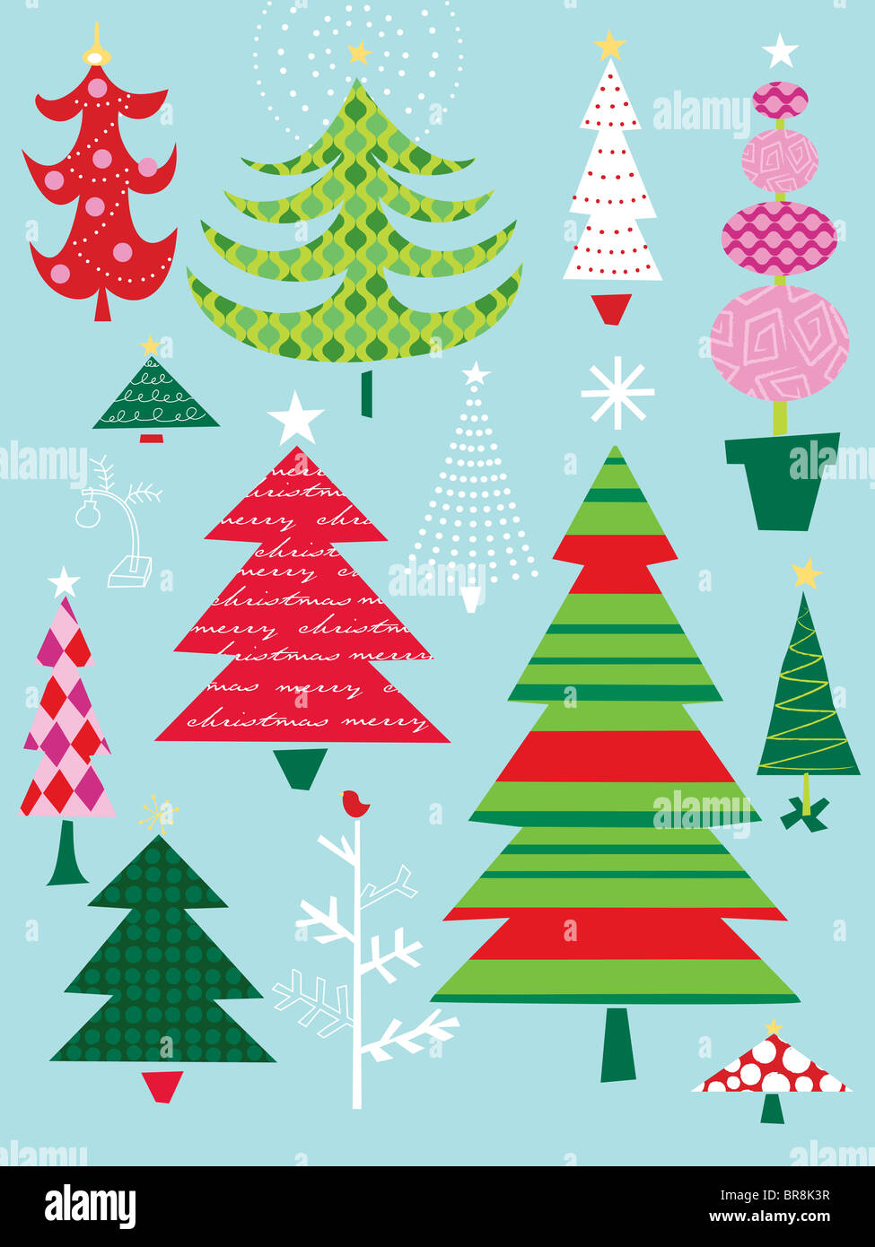 A canvas of different types, styles and colors of Christmas trees ...