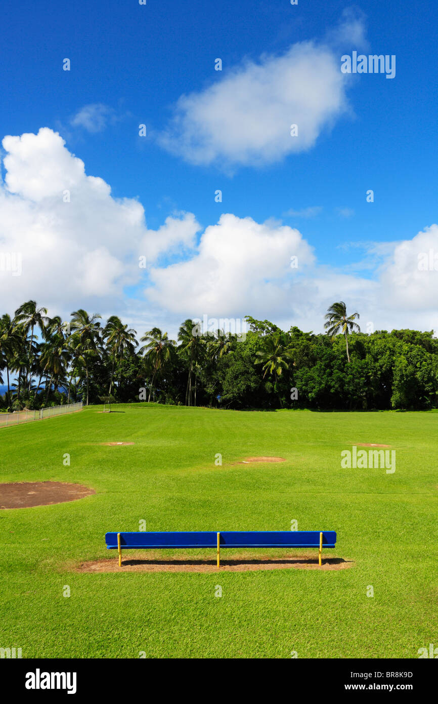Blue Bench in Ball Field, Hawaii, USA Stock Photo