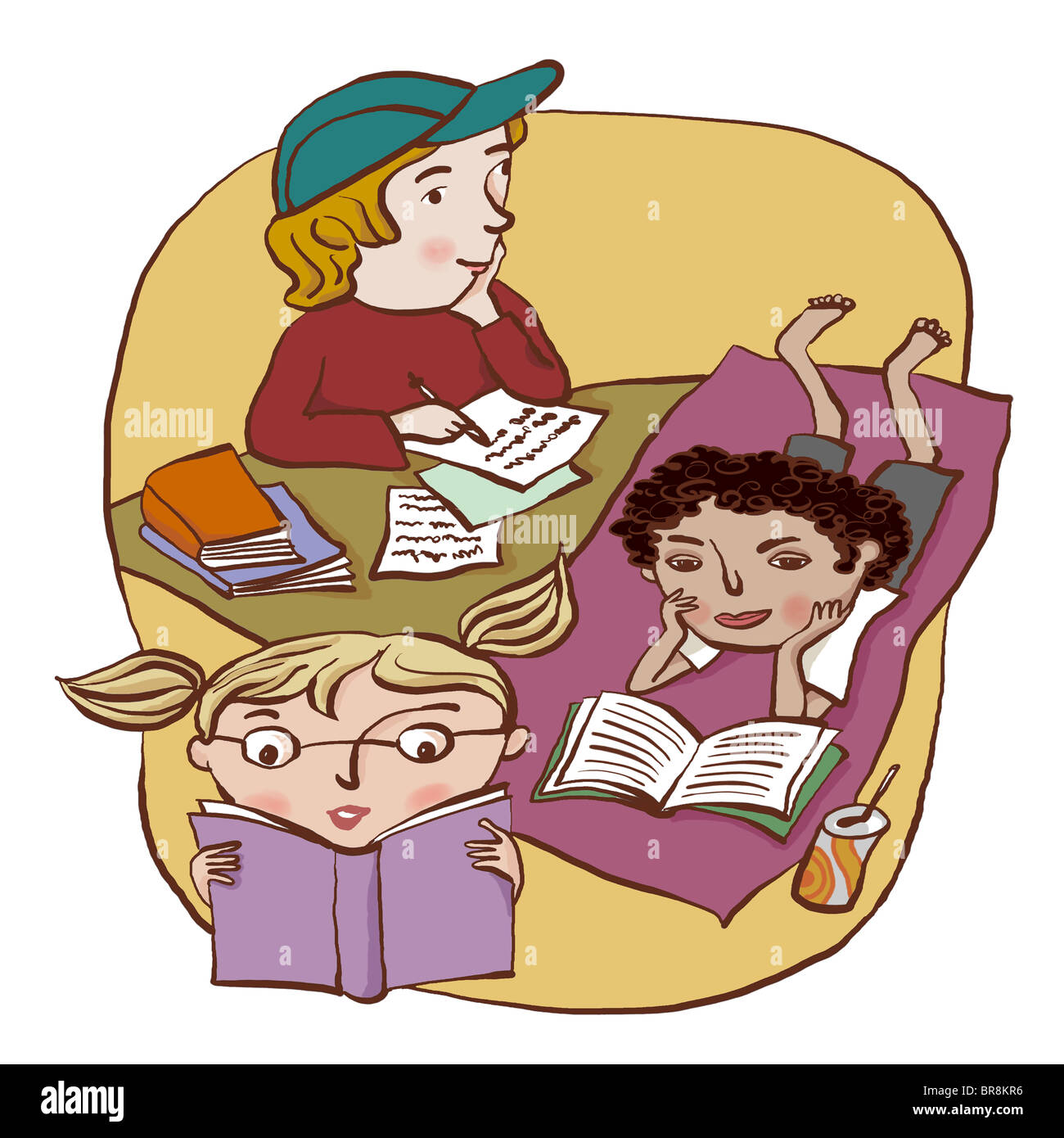 a group of three children reading and writing happily stock photo
