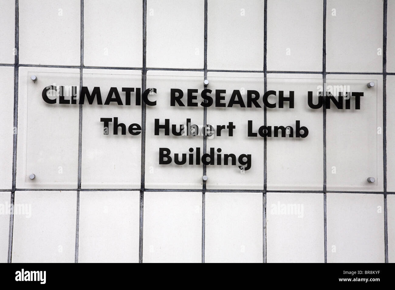 Climatic research unit sign at the university of east Anglia. - Stock Image
