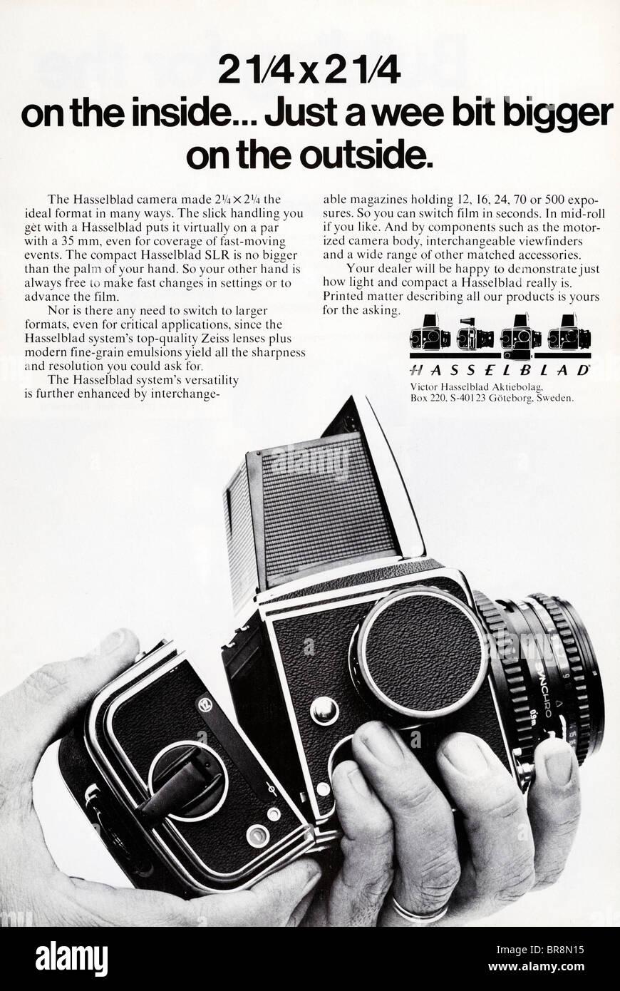 Black and white magazine advert for hasselblad medium format film cameras circa 1978