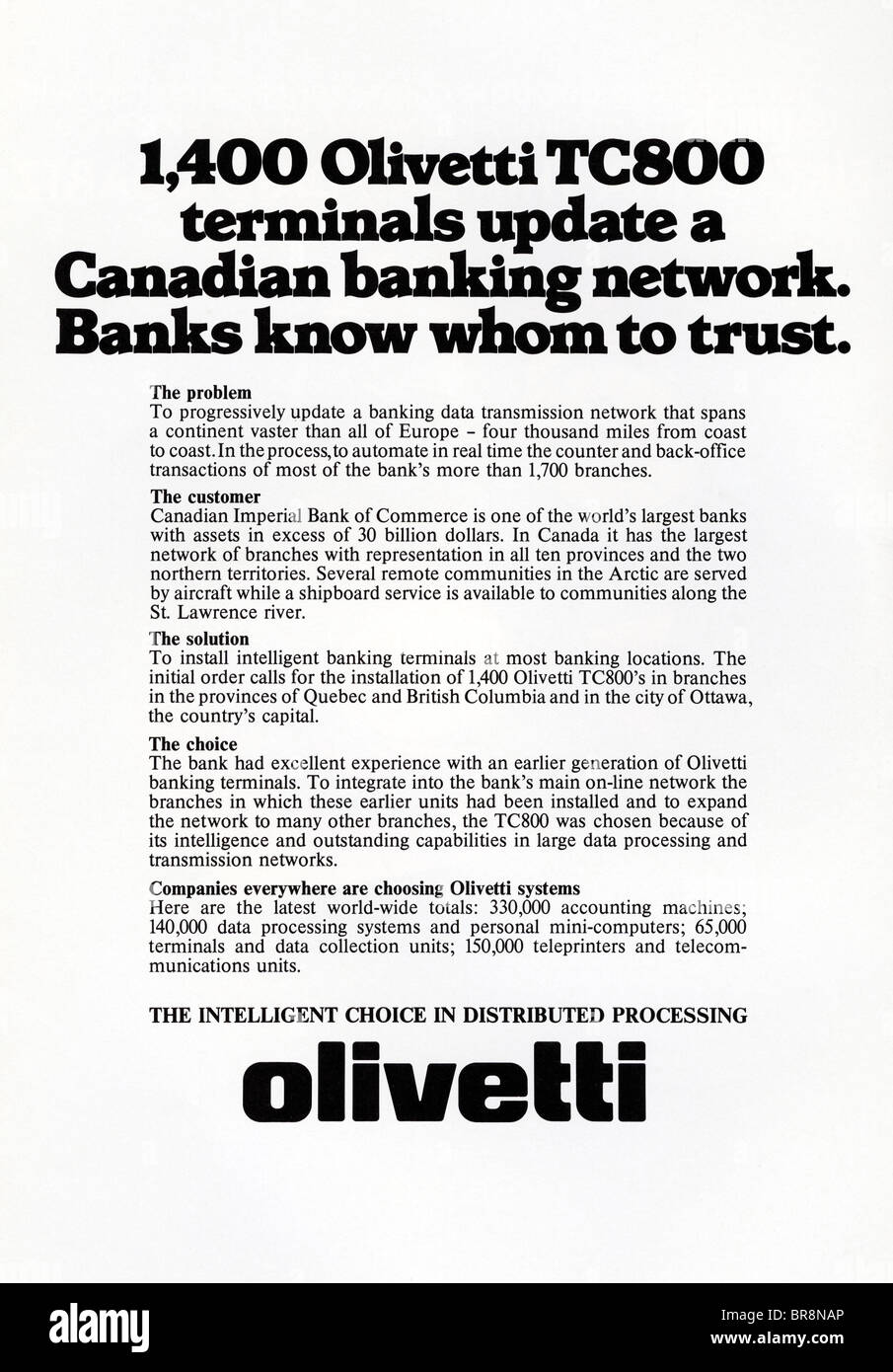 Black and white magazine text advert for Olivetti Canadian banking network circa 1978 - Stock Image