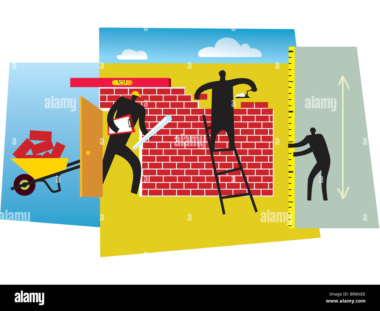 People building a brick wall Stock Photo: 31539942 - Alamy