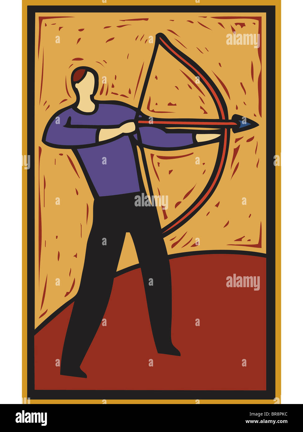 ilustration of a man using a bow and arrow - Stock Image