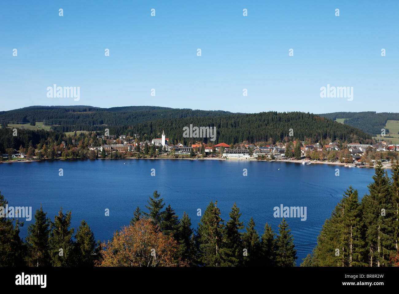 View Over Lake Titisee To Titisee Neustadt Baden Wurttemberg Stock Photo Alamy