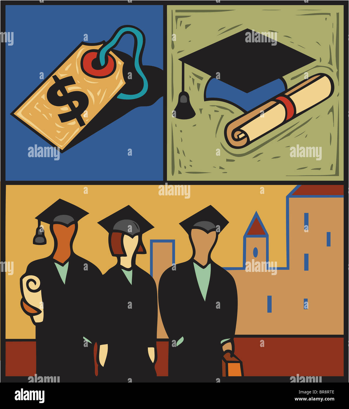 Montage of a group of students in cap and gown, a price tag and a ...