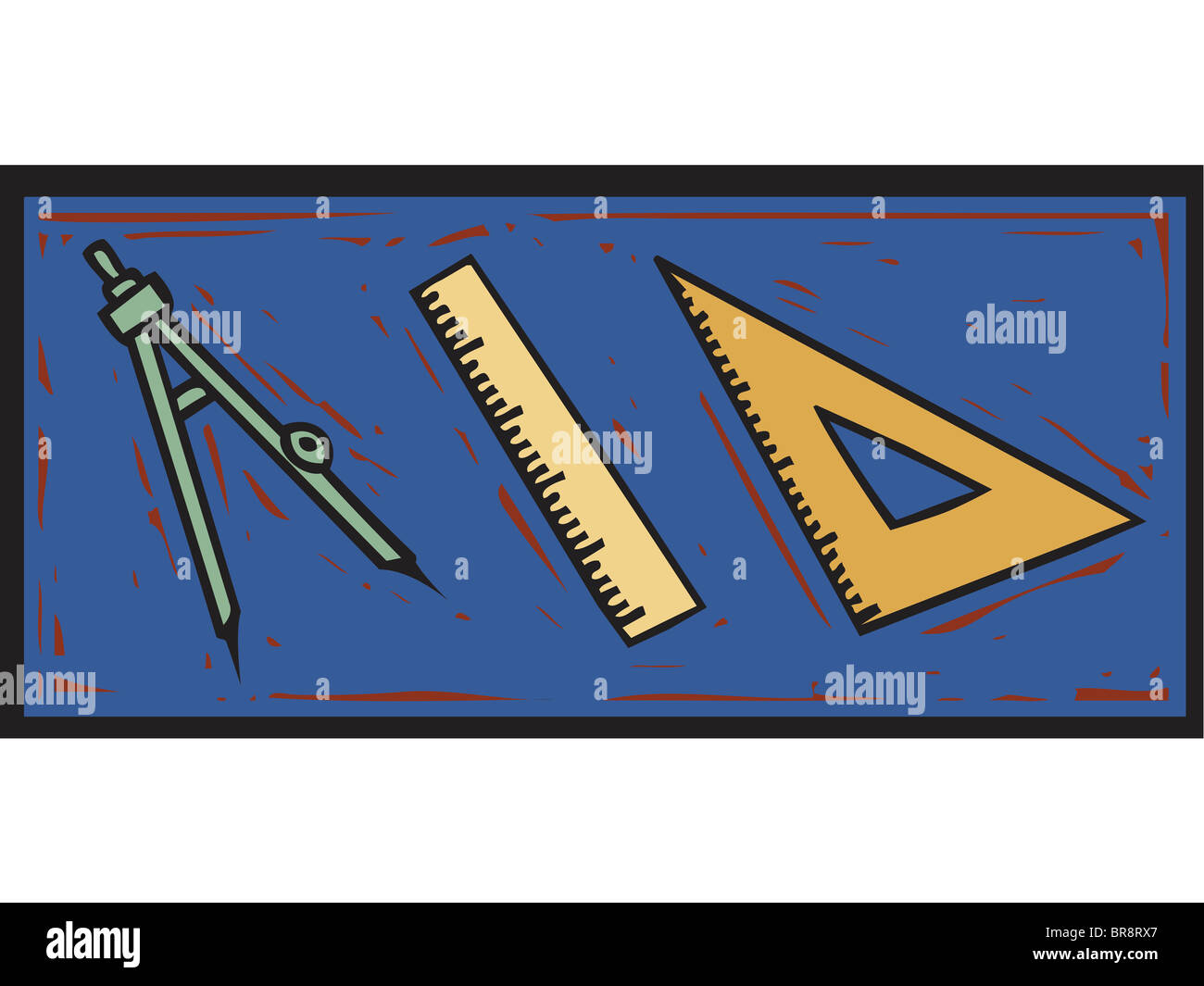 a math compass, a ruler, and a triangle ruler stock photo: 31541839