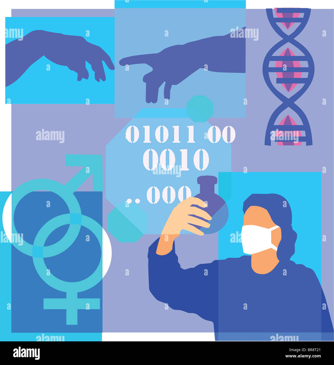 Montage Illustration About Genetic Research Containing Dna Stock