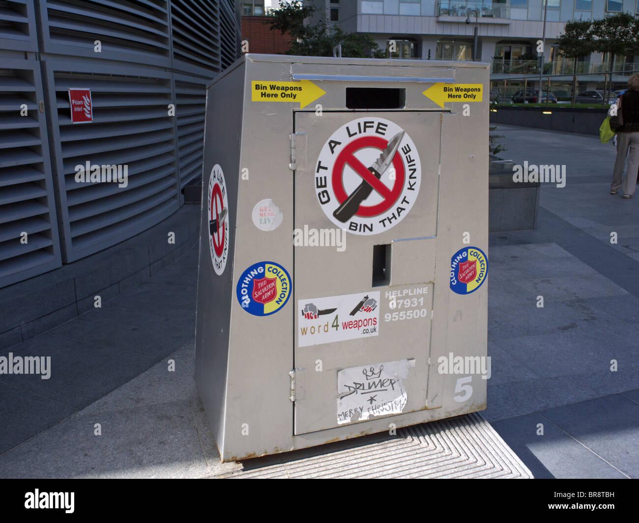 A knife bin In Victoria London UK - Stock Image