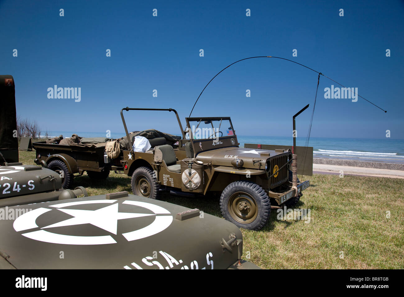 US Army D day re-enactment camp at Omaha Beach Normandy France - Stock Image