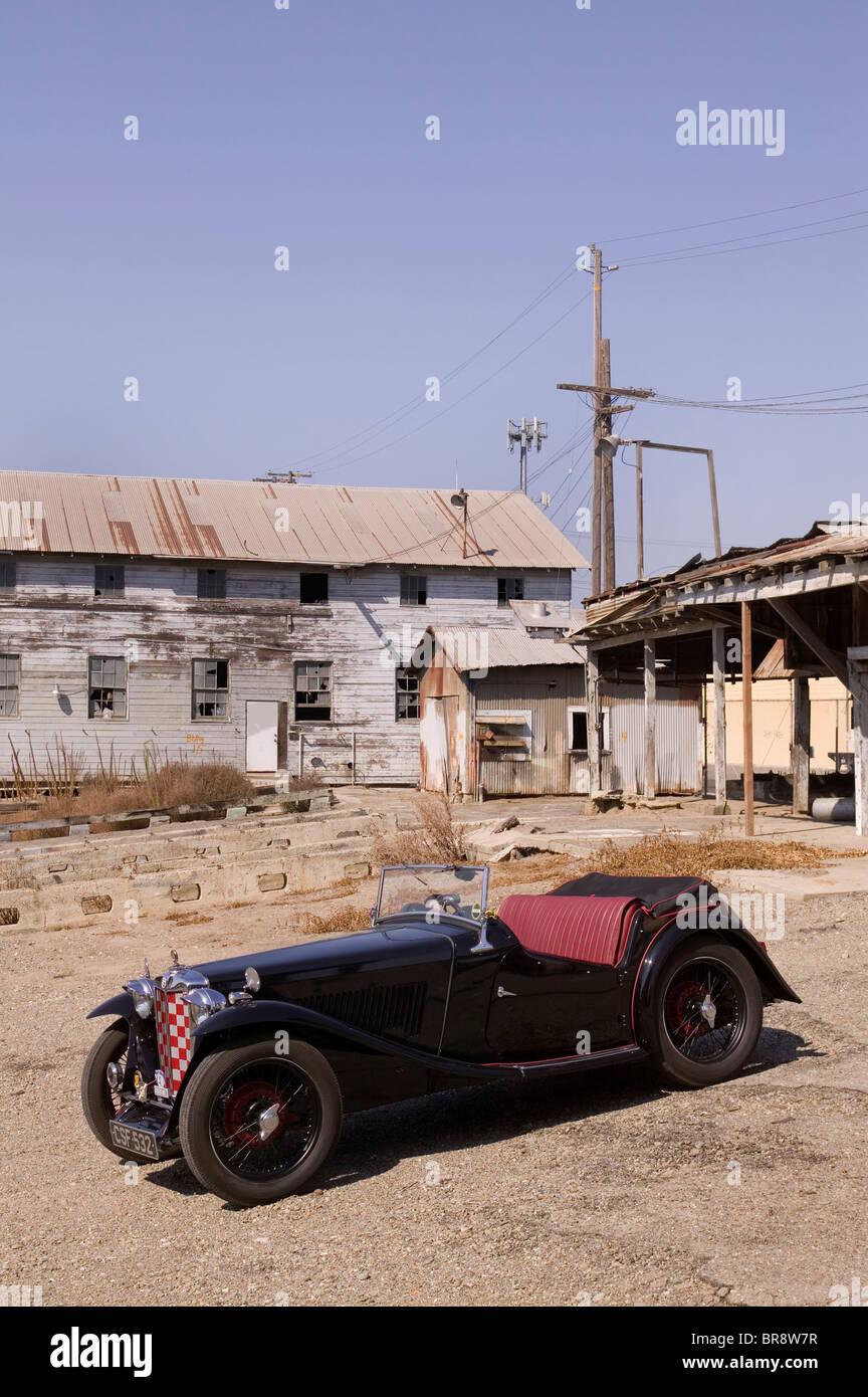 MG TA driving in California - Stock Image