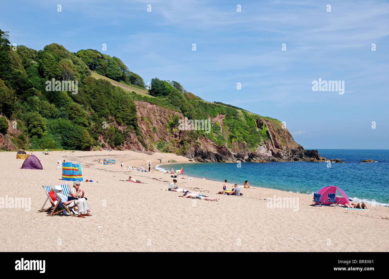 early summer at blackpool sands near dartmouth in devon, uk - Stock Image
