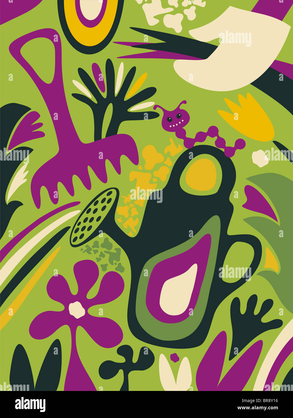 A whimsical illustration about gardening - Stock Image