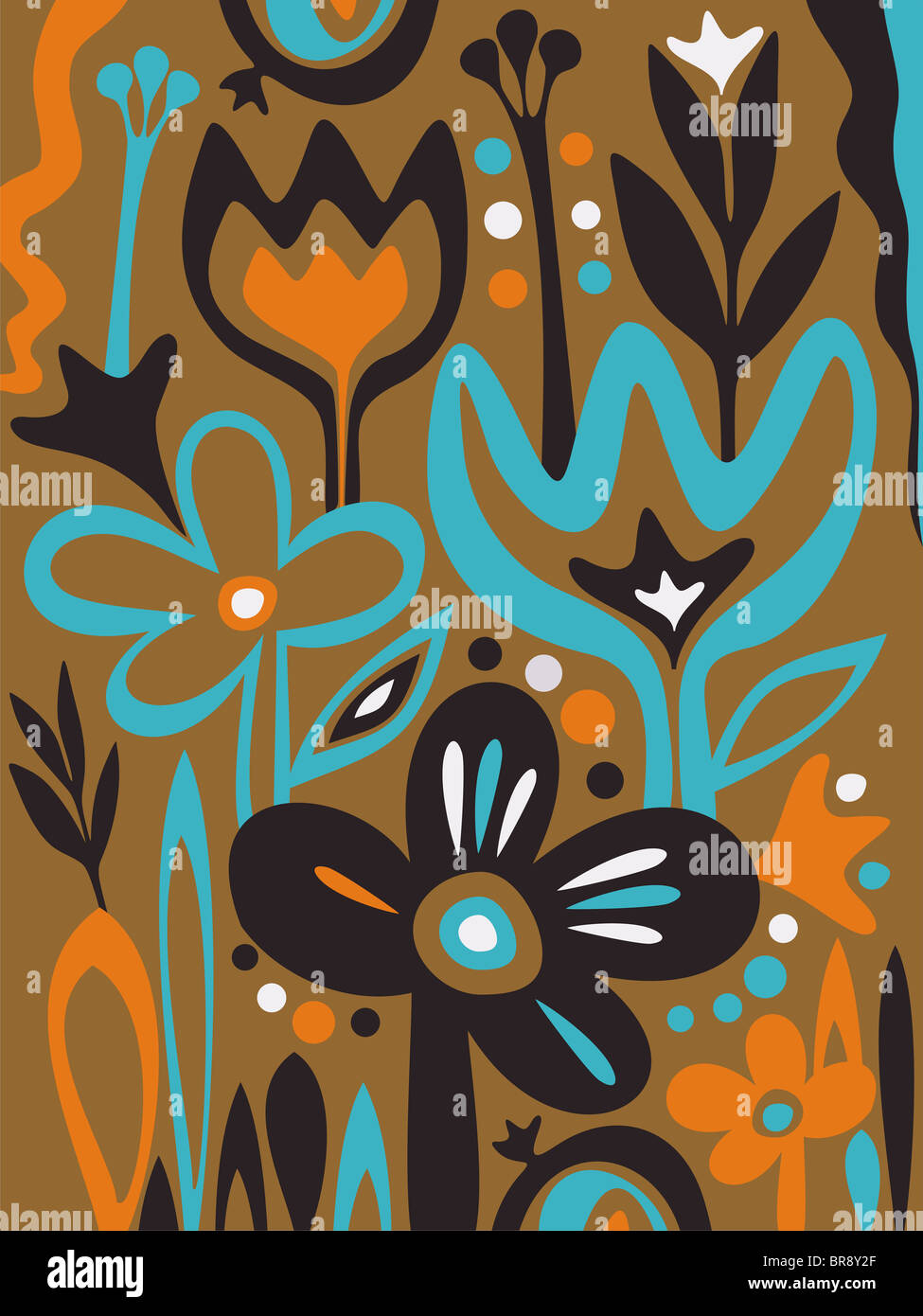 A whimsical illustration of wild flowers - Stock Image