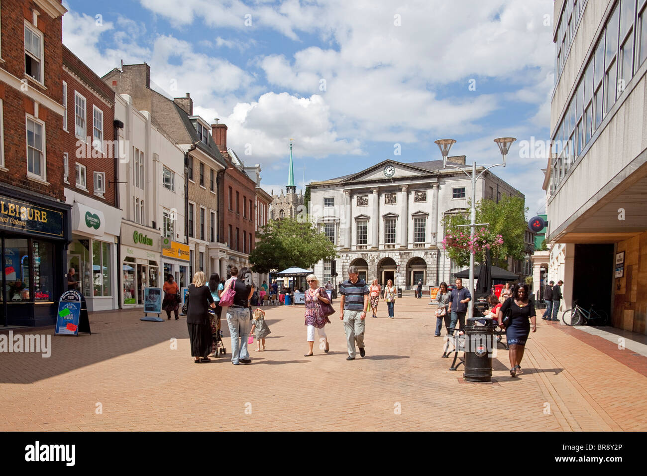 Chelmsford,Essex The High Street looking towards the Shire Hall August 2010 - Stock Image