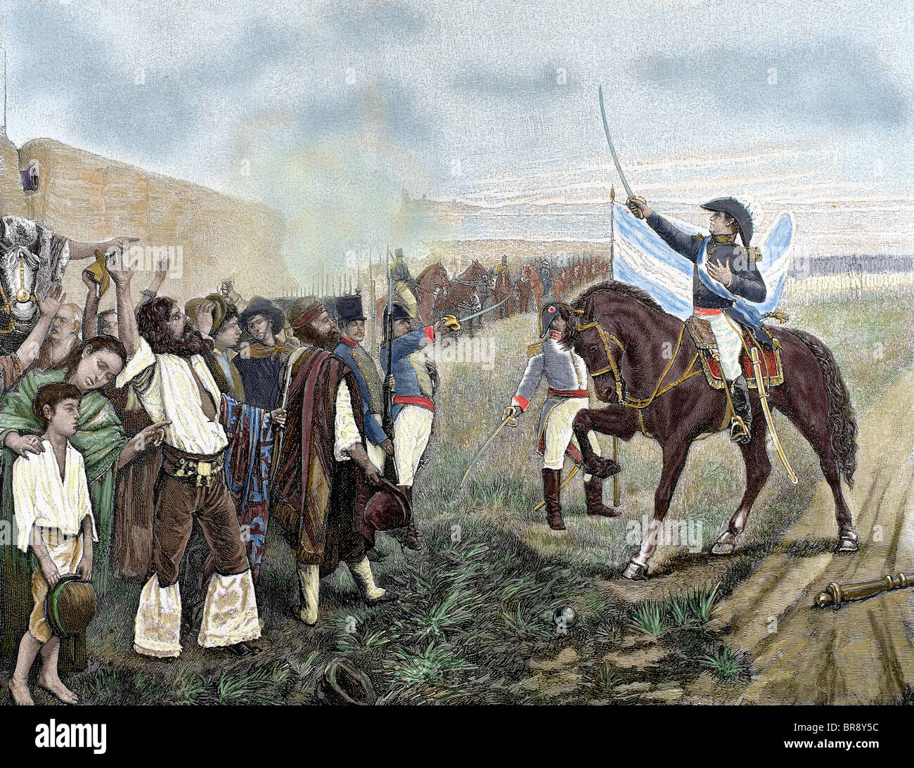 The first flag of Argentina presented to the revolutionary army by General Belgrano on February 27, 1812. - Stock Image