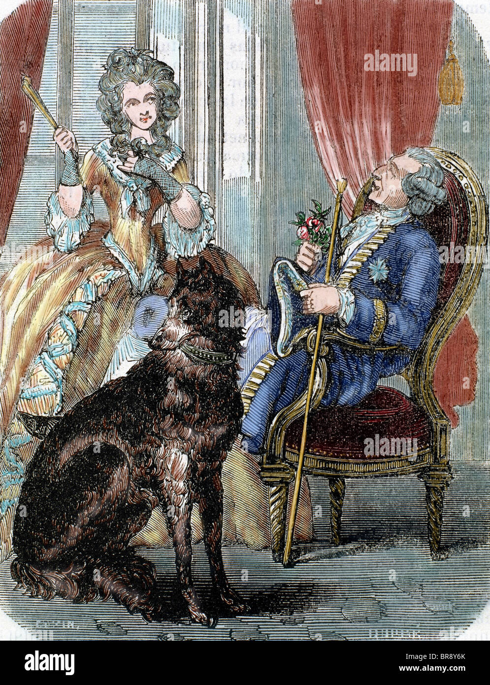 Louis XV (1710-1774). King of France (1715-1774) and Marie Jeanne Becu, Comtesse du Barry. Colored engraving of - Stock Image