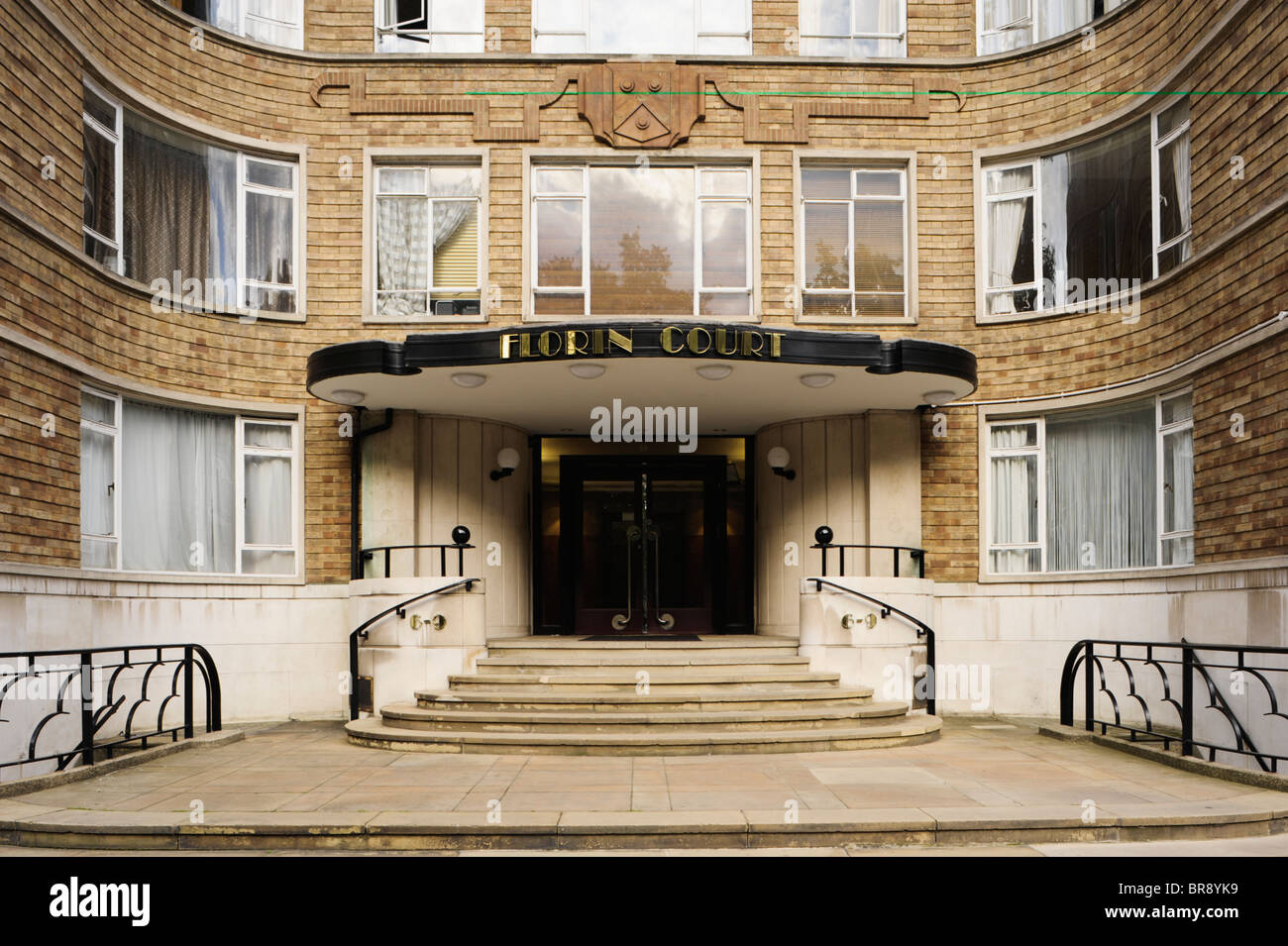 entrance to art deco apartment building in london uk stock. Black Bedroom Furniture Sets. Home Design Ideas