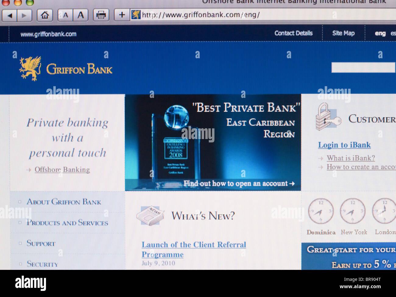 Griffon Bank Website Screenshot - Stock Image