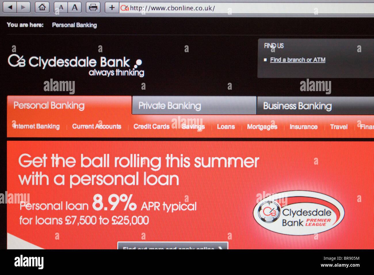 Clydesdale Bank website Screenshot - Stock Image