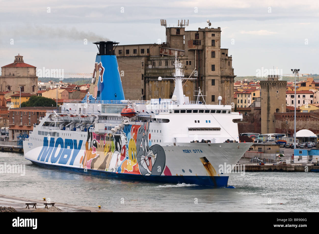 Moby Otta cruise passenger ship at the port of Livorno Italy - Stock Image