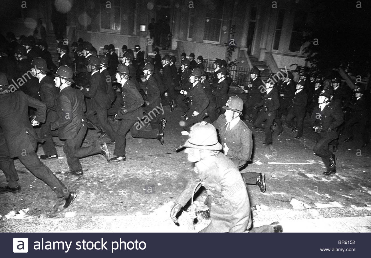 Policemen Notting Hill riots London England 1970s - Stock Image