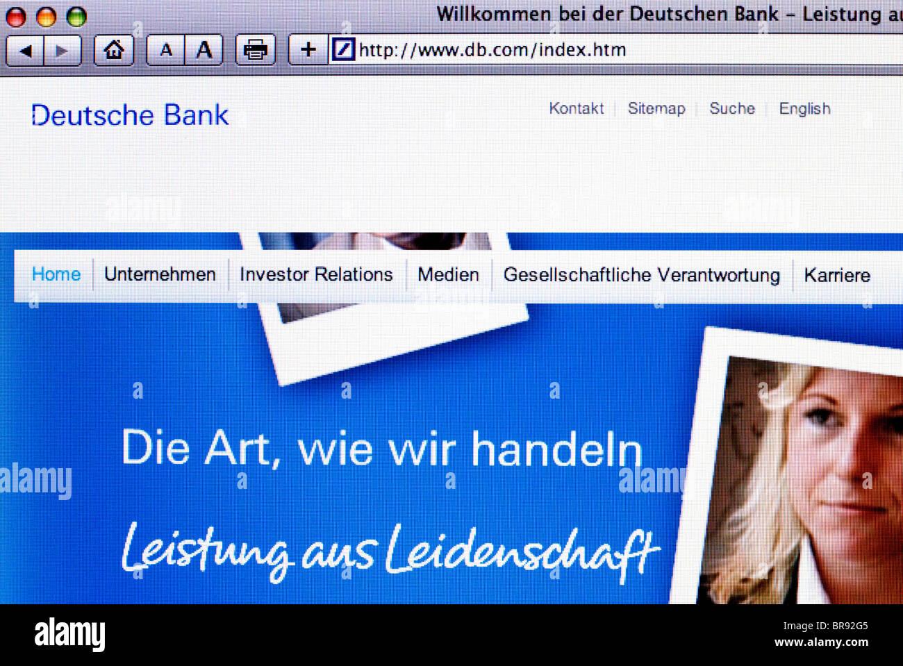 Deutsche Bank website Screenshot - Stock Image