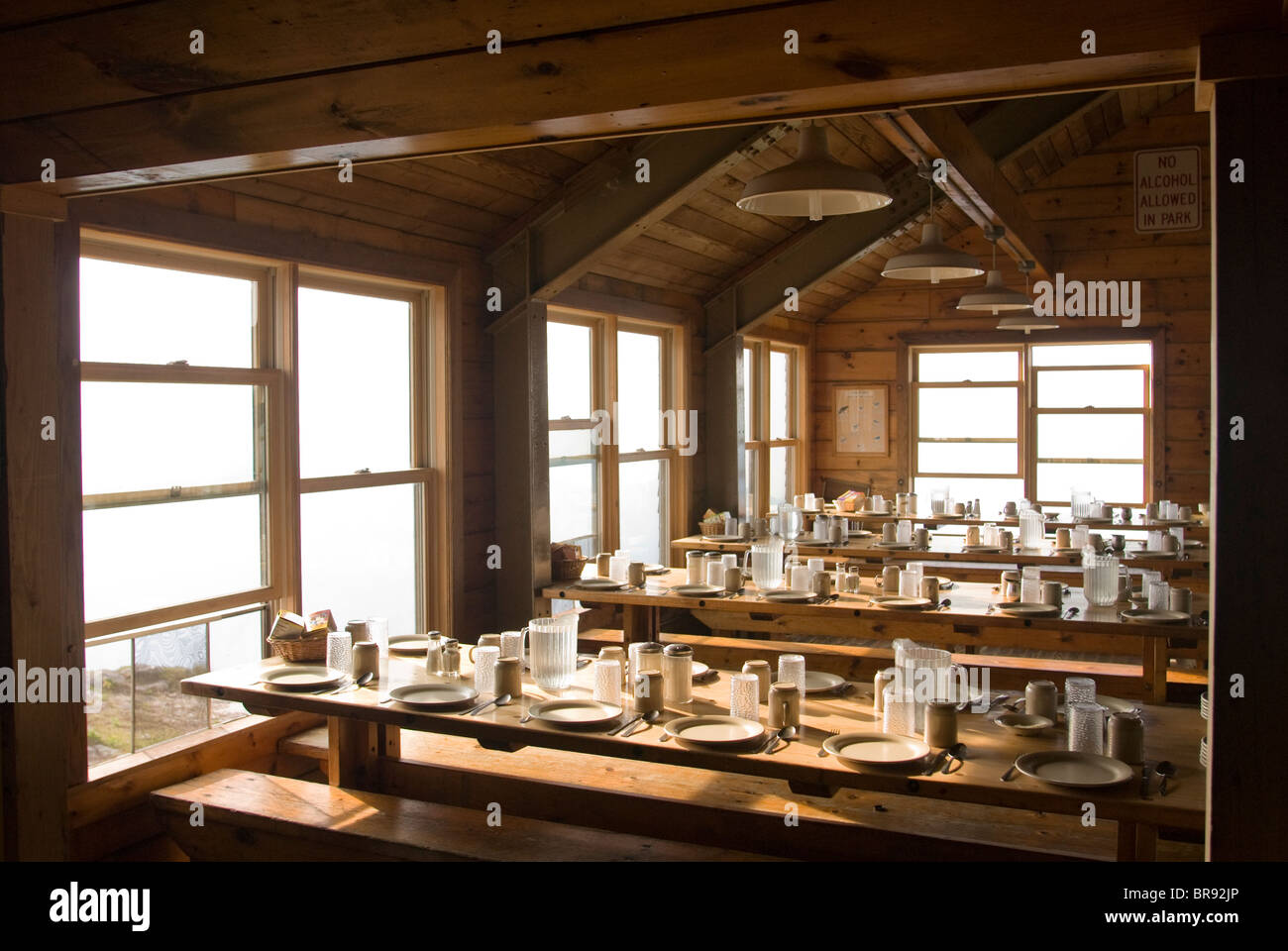 The mess hall in Lakes of the Clouds Hut on the Appalachian Trail. Presidential Range Mt. Washington New Hampshire. - Stock Image