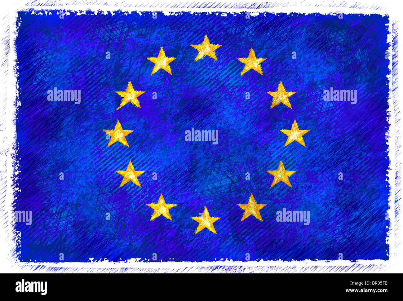Drawing of the flag of European Union - Stock Image