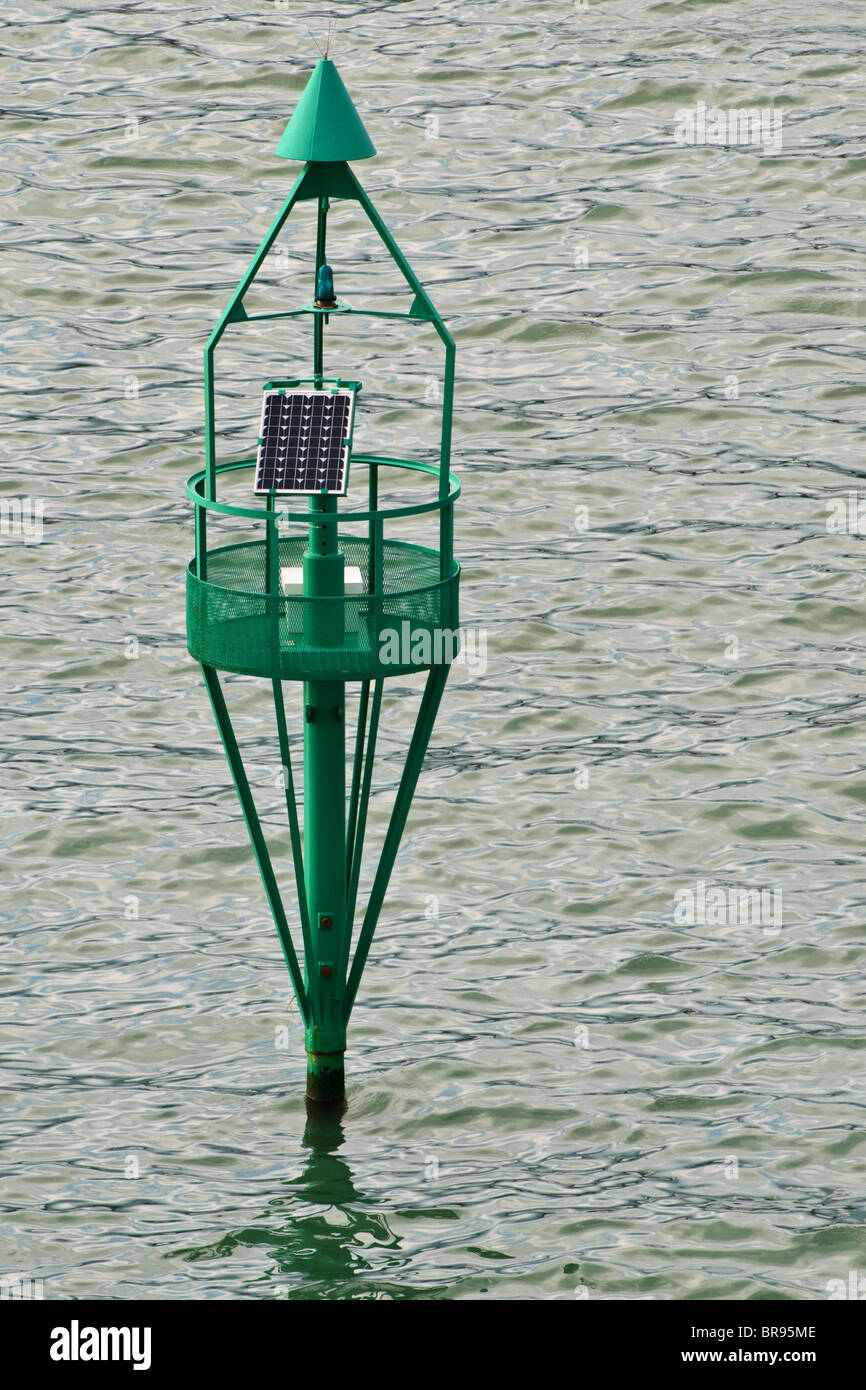 Sea marker navigation buoy just off the port of Livorno (Italy) - Stock Image