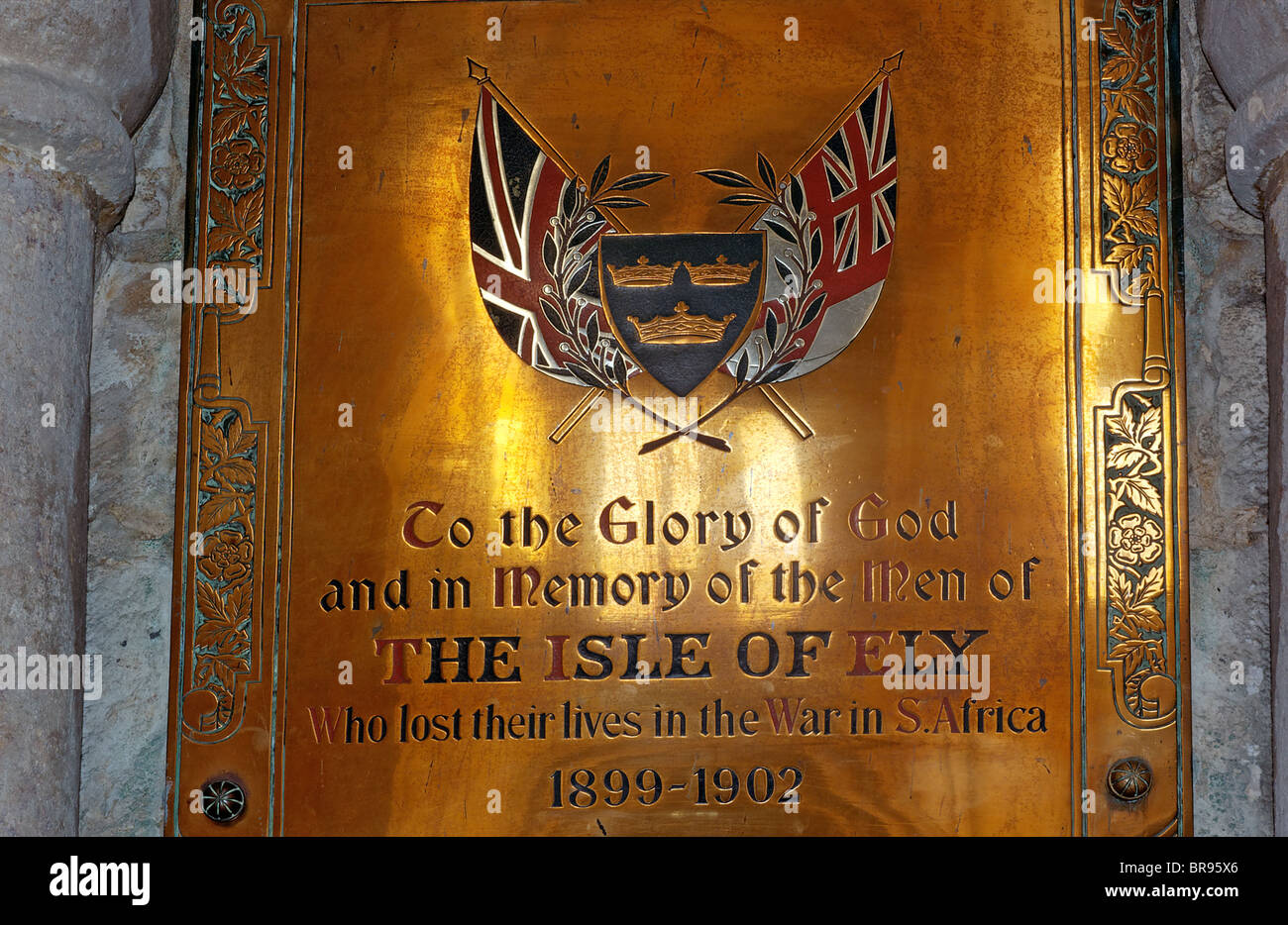 War memorial to South African wars in Ely Cathedral - Stock Image