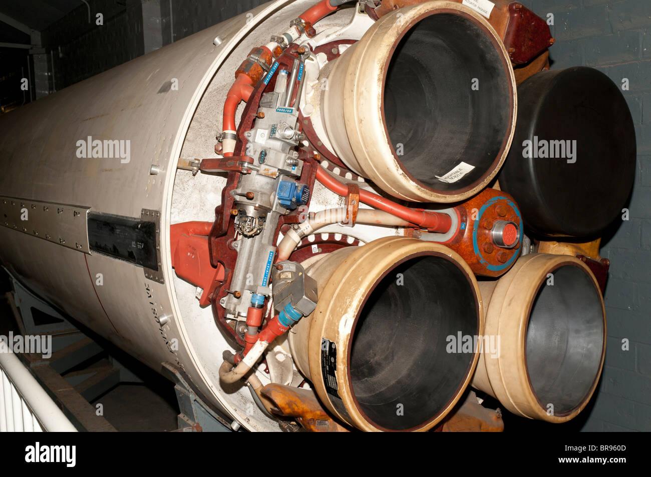 Rocket exhaust nozzles of a Polaris missile, Royal Navy Submarine Museum, Gosport, Portsmouth, UK Stock Photo