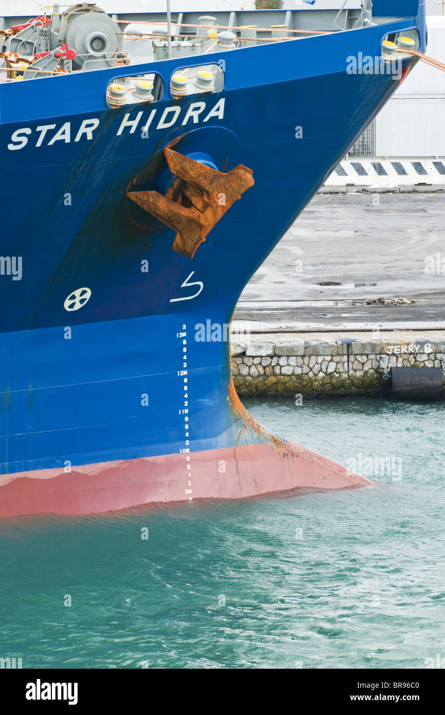 The bow of the Star Hidra general cargo ship from Norway - Stock Image