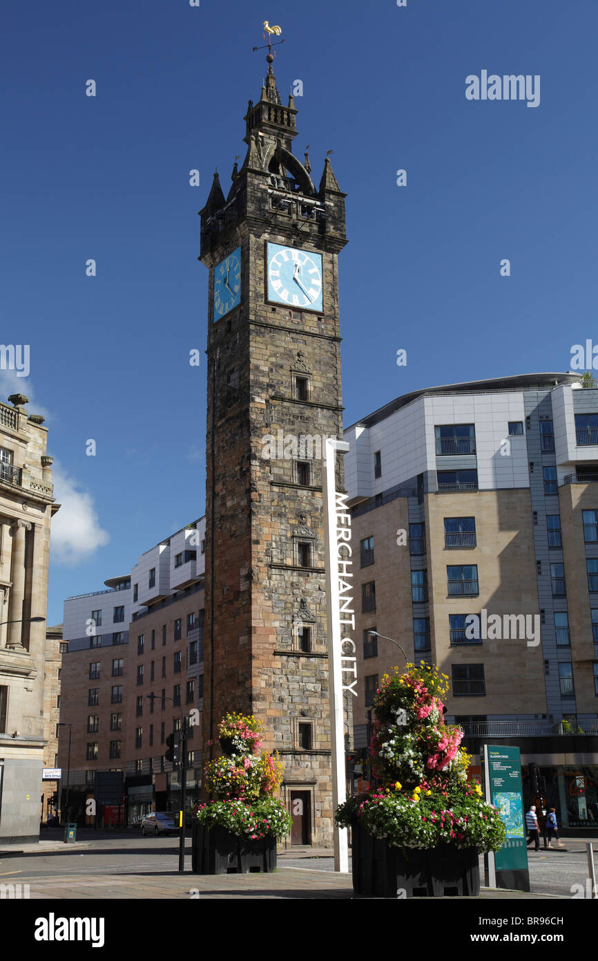The Tolbooth Steeple and Clock in the Merchant City at Glasgow Cross, Scotland, UK - Stock Image
