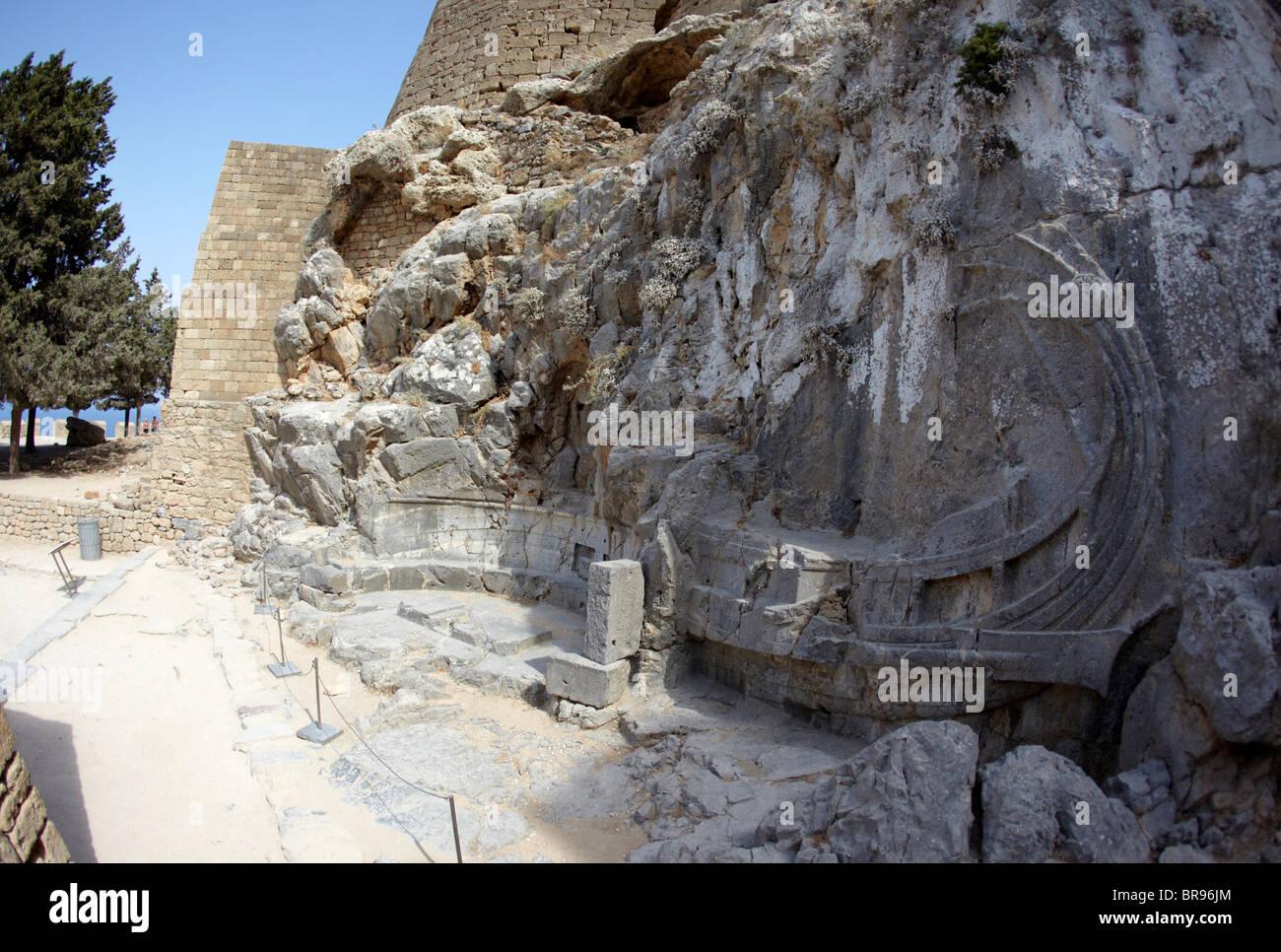 Relief Of  A Rhodian Trireme Warship The Acropolis Lindos Rhodes Greek Islands Hellas - Stock Image