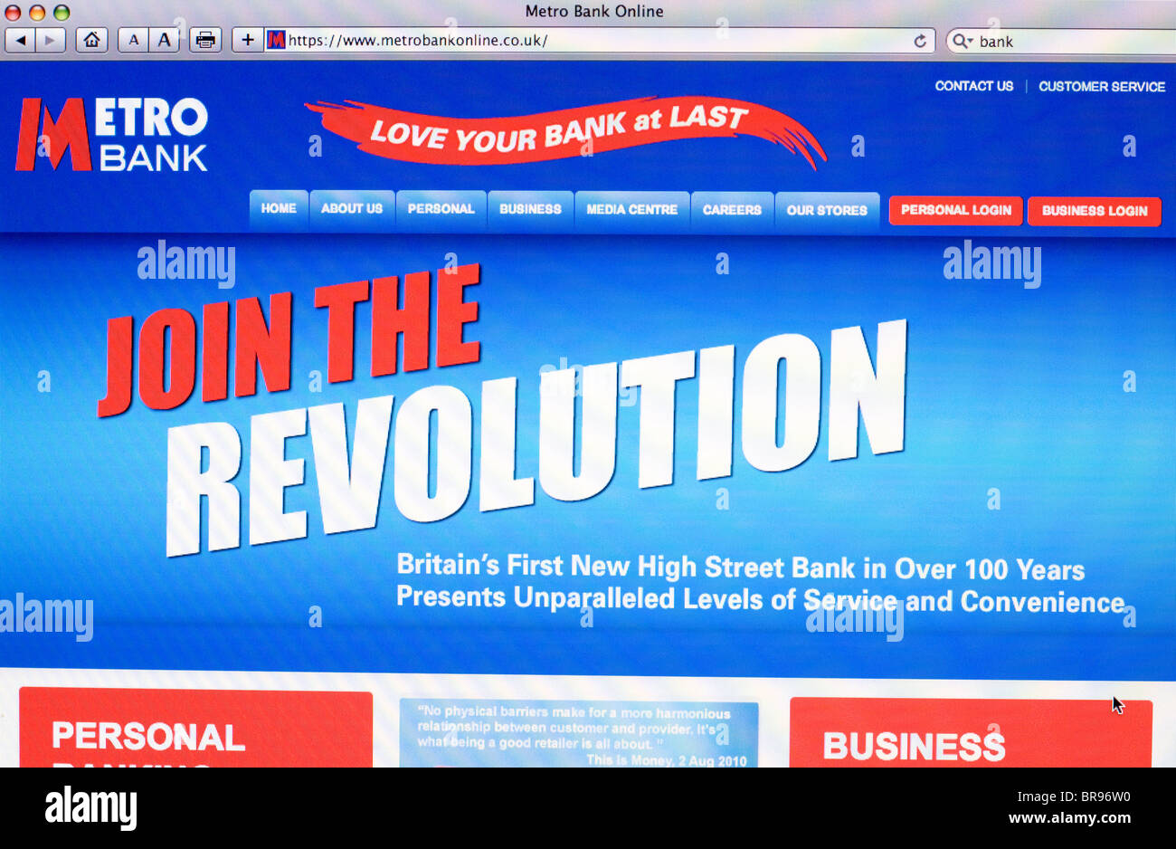 Metro Bank website Screenshot - Stock Image