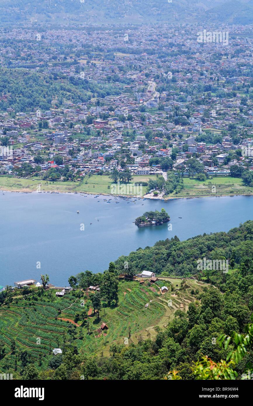 View of Phewa Lake and the city, Pokhara, Nepal - Stock Image