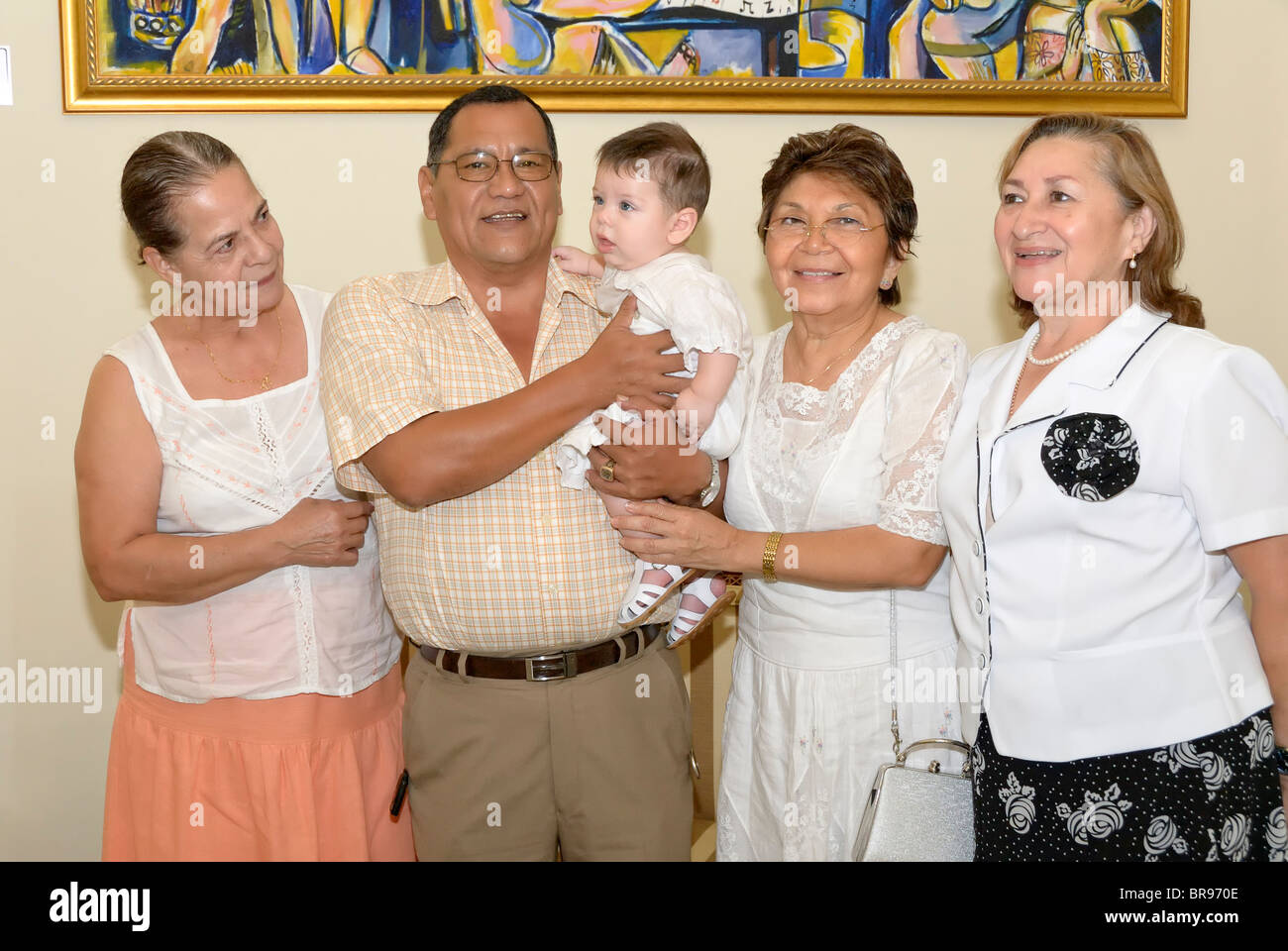 Merida, Yucatan/Mexico-July 8: Baby boy baptism celebration. Family group shot. Relatives and friends - Stock Image