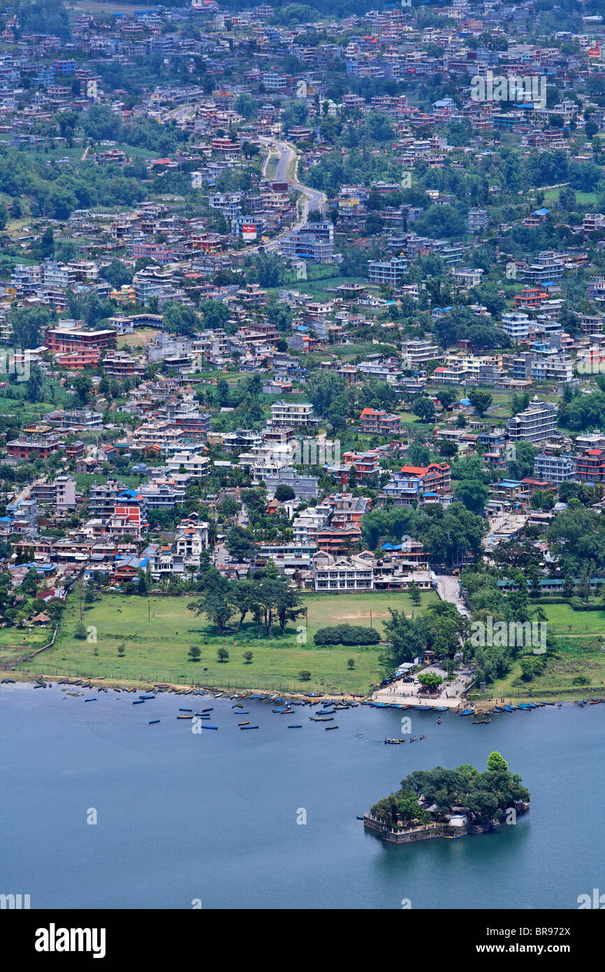 View of Phewa Lake and the city, Pokhara, Nepal - Stock Image