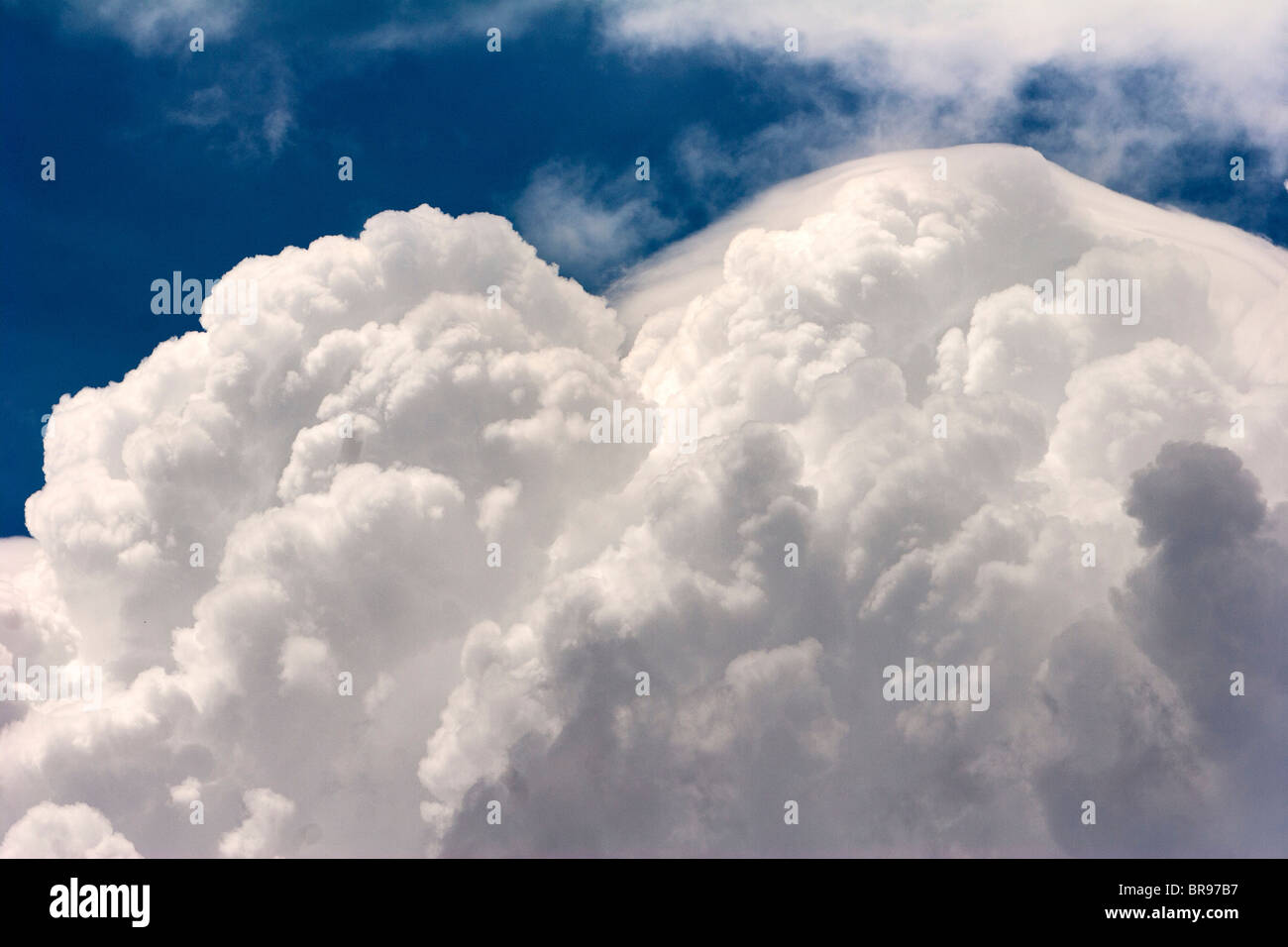 The updraft of a cumulonimbus cloud breaks into the stratosphere in northern Oklahoma; May 12; 2010. - Stock Image