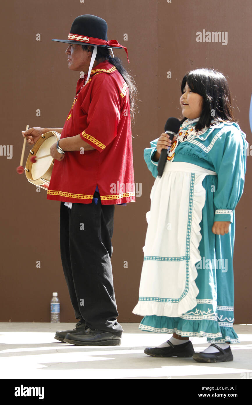 Cherokee, North Carolina -  Chactaw Indians singer and drummer on stage during the annual Southeast Tribes Festival. - Stock Image