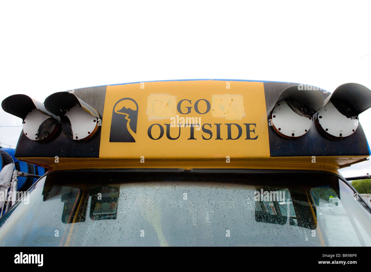 sign on bus 'go outside' - Stock Image