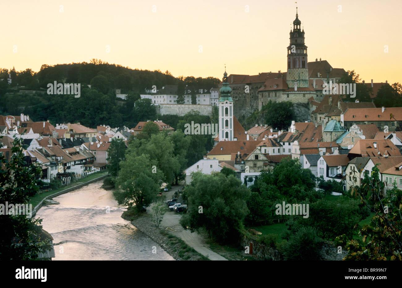 View Of Cesky Krumlov At Sunset Czech Republic Summer