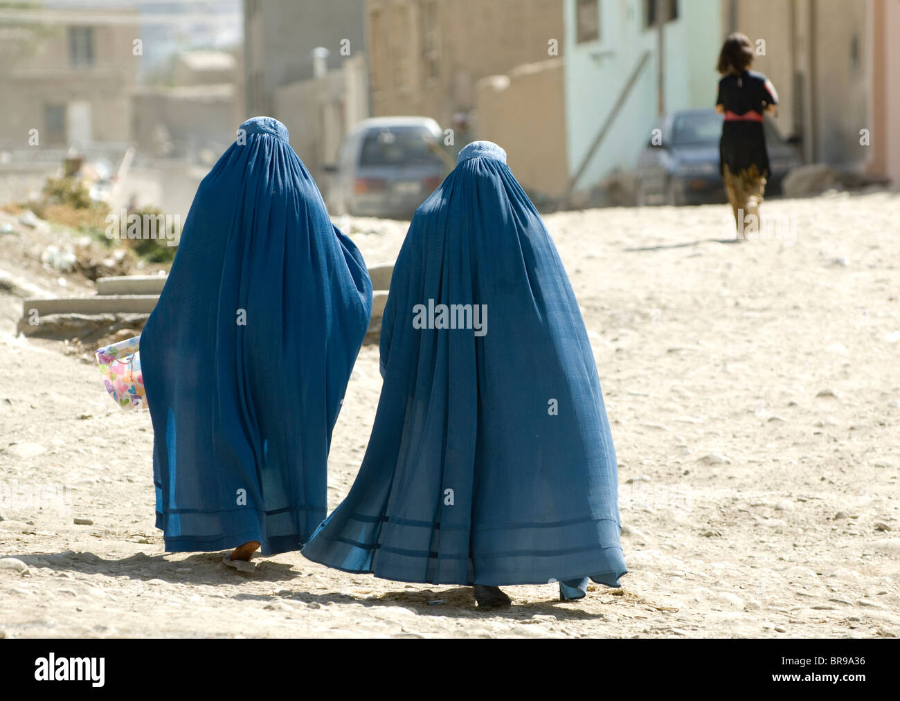Women in burka-burqa in Kabul, Afghanistan - Stock Image