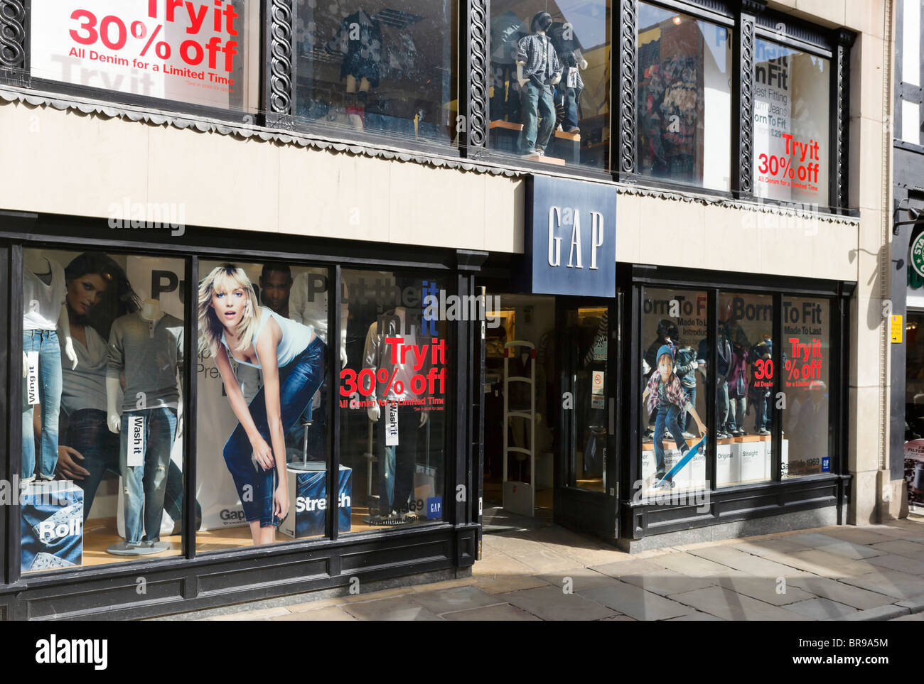 GAP store in Chester town centre, Cheshire, England, UK - Stock Image