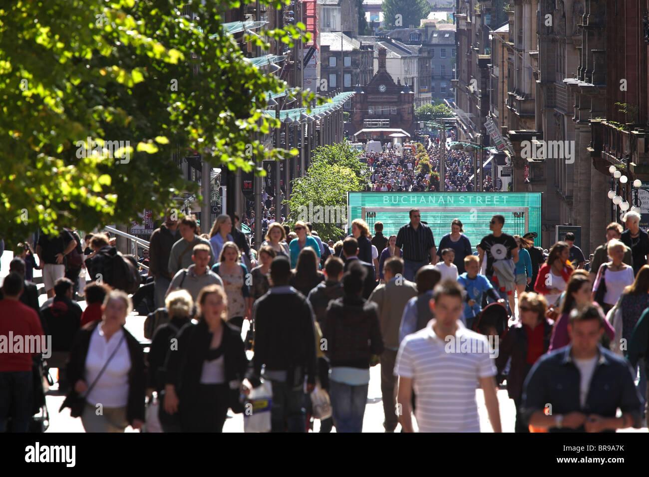 Pedestrians walking on Buchanan Street in Glasgow city centre, Scotland UK - Stock Image