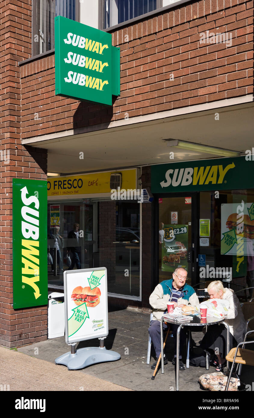 Subway restaurant in Chester town centre, Cheshire, England, UK - Stock Image