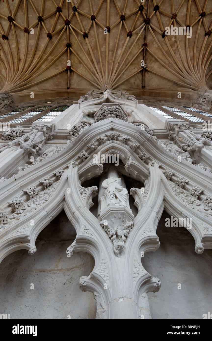 Defaced statues in Ely cathedral - Stock Image